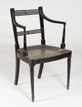Black painted armchair, English, unknown maker, early nineteenth century, painted wood, caned seats