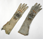 A pair of embroidered gloves, thought to have belonged to Mrs Soane.
