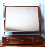Dressing-table mirror, English, unknown maker, c.1790-1800, mahogany veneer on a main carcase of deal and mahogany veneer on oak drawer carcases