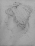 Portrait of Elizabeth ('Eliza') Soane, wife of Sir John Soane, pencil on paper