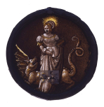 <i>Saint Margaret and the dragon</i>, stained glass roundel, German, 16th century