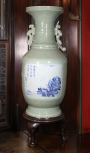 Large Chinese celadon vase (on mahogany stand L97.A), pair with L103