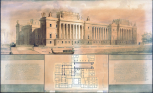 Soane office, London, design for the Palace of Westminster, view of the River Front of the House of Lords, 1796