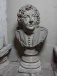 Bust of John James Heidegger, master of the revels to King George II, marble.