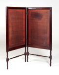 Fire screen, English, unknown maker, Mahogany and wool