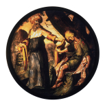 <i>Abraham and Isaac</i>, stained glass roundel, Netherlandish, 17th century