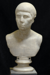 Eighteenth century imitation head of a Roman portrait bust set on an antique bust
