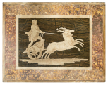 <i>Intarsia</i> (marble mosaic) panel of a youth driving a <i>biga</i> (chariot) drawn by a pair of stags.