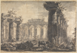 Paestum (Italy), Basilica: view of the interior looking east, with a section of the south peristyle, the central columns of the cella and the pronaos in the distance, a study for <i>Différentes vues de Pesto...</i>, plate VII