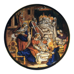 <i>Birth of the Virgin</i>, stained glass roundel, Netherlandish or German, 17th century