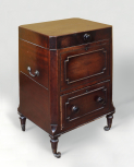 Square cellaret, by ?John Robins (1776-1828), 1813, mahogany with brass handles