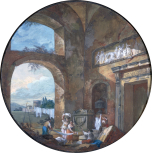 Architectural subject: Interior of a ruin with laundresses (1763) (roundel).