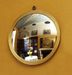 Circular modern convex mirror in gilt frame made by Tim Newberry 1994-95 for the No 12 Breakfast Room