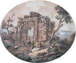 Architectural composition with a ruined tirumphal arch, oval