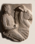 Cast of fragment of one of Lord Elgin's marbles (not from the Acropolis), plaster (Rider on horse)