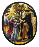 <i>Saint Elizabeth of Hungary being converted</i>?, stained glass oval, school of Jan de Caumont at Leuven, Netherlandish, 17th century