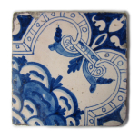 Blue and white tile fragment, one of 8 tiles (or fragments of tile) in this pattern, not listed in the Museum's earliest inventories of 1837.