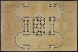 Soane office, London, British Senate House: plan of design P254, after a drawing made by John Soane in Rome, 1779