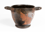 An Campanian (Greek) skyphos (two-handled deep wine cup) of Attic (Type A) shape.