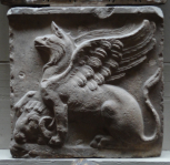 END OF A SARCOPHAGUS: GRIFFIN AND RAM'S HEAD