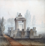 Soane office: perspective view of the Soane Tomb in the churchyard of Old St Pancras Church, London, drawn by Henry Parke