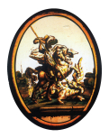 <i>St. George and the Dragon,</i> stained glass panel, English 17th century
