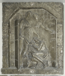 Bas relief, an angel opening the prison gates to release St Peter, plaster