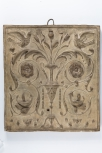 Cast of a panel of 16th century arabesque ornament from Sta. Maria del Popolo in Rome(?), plaster (see also M1453)