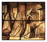 <i>Scene from the life of Saint Teresa</i>: she presents the injured babe, stained glass panel, after Adriaen Collaert, Netherlandish or German? said to come from Cologne, 17th century