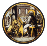 <i>Saint Mark or Saint Jerome writing,</i> with a lion, stained glass roundel, German or Netherlandish, 1520/30