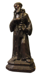 18th-century Italian carved black wood figure of a monk with a rosary.
