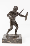 Statuette of a warrior or gladiator, Italian, 17th Century type (on a marble plinth)