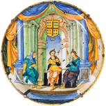 Maiolica plate made in the workshop of Guido Durantino in Urbino, Italy