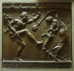 Cast of a relief of a Satyr (or faun) and Maenad dancing, after an antique example in the Villa Albani, Rome, plaster.