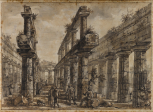 Paestum (Italy), Temple of Neptune: view of interior from the W, taken from within the <i>cella</i> area, looking E and showing the internal superimposed colonnades, study for <i>Différentes vues de Pesto...</i>, plate XVI