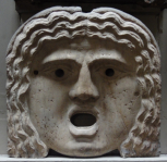 Large flat mask from a Roman fountain or bath