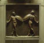 Cast of an Antique relief of two Corybantes found near Palestrina in 1788 (Vatican Museums No. 489), plaster (as M1248)