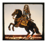 <i>Holy Roman Emperor Charles VI, in armour and on horseback</i>, stained glass panel, Netherlandish, 18th century