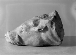 Fragment of a statue or deeply carved relief depicting Victory slaying a young bull or cow