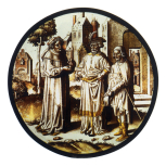 <i>Saint Roch and a donor with Saint Stephen?</i>, stained glass roundel, Netherlandish, c. 1520