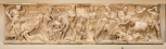 The front of a Roman sarcophagus depicting 'The Rape (or carrying off) of Persephone (Proserpina)'