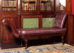 Day bed, English, probably by John Robins (1776-1828), 1818, mahogany frame, leather upholstery, brass castors