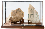 Small glass case containing two fragments of the cover of the Seti sarcophagus